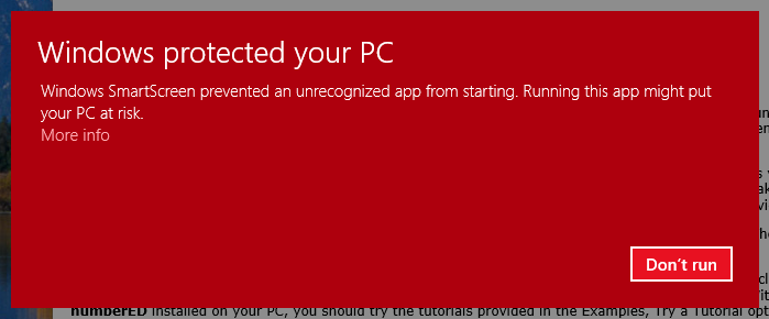 Windows protected your PC1